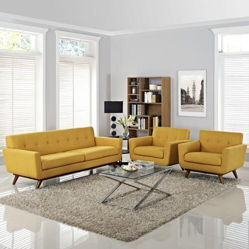 Modway - Engage Armchairs and Sofa Set of 3 in Citrus