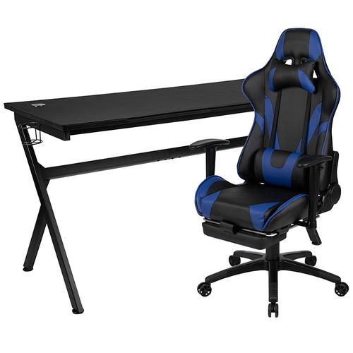 Gallery - Gaming Desk and Blue Footrest Reclining Gaming Chair Set - Cup Holder\/Headphone Hook\/Removable Mouse Pad Top\/Wire Management