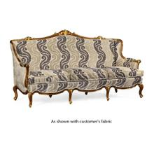 Three seater sofa with gilded carving, upholstered in COM