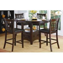 See Details - Round / Oval Counter Height Table with Storage Base and 4 Chairs