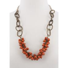 BTQ Burnished Gold Loop Necklace w/Orange Beads