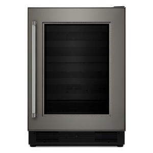 "Kitchenaid24"" Panel Ready Wine Cellar with Glass Door and Wood-Front Racks - Panel Ready PA"