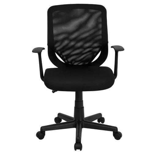 Flash Furniture - Mid-Back Black Mesh Tapered Back Swivel Task Office Chair with T-Arms