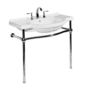 White NOUVEAU Console Lavatory with Polished Nickel Metal Finish Product Image