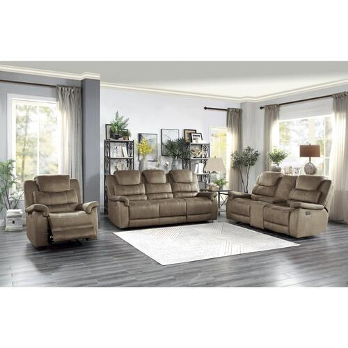 Power Double Reclining Love Seat with Center Console, Power Headrests and USB Ports