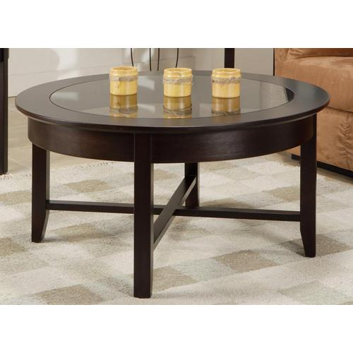 - Demilune Round Coffee Table w/Glass Top