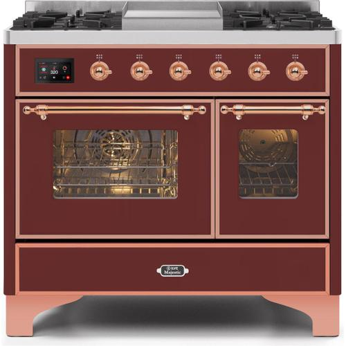 Majestic II 40 Inch Dual Fuel Liquid Propane Freestanding Range in Burgundy with Copper Trim