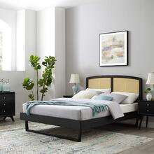 Sierra Cane and Wood Full Platform Bed With Angular Legs in Black