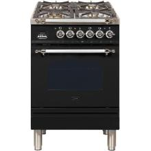 See Details - Nostalgie 24 Inch Dual Fuel Natural Gas Freestanding Range in Glossy Black with Chrome Trim