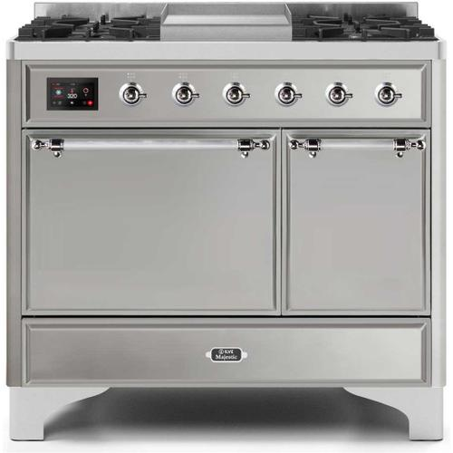 Ilve - Majestic II 40 Inch Dual Fuel Liquid Propane Freestanding Range in Stainless Steel with Chrome Trim