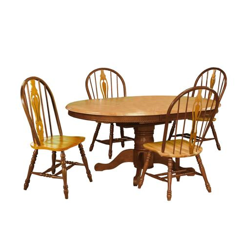 Keyhole Dining Chair - Light Oak with Nutmeg Accents (Set of 2)