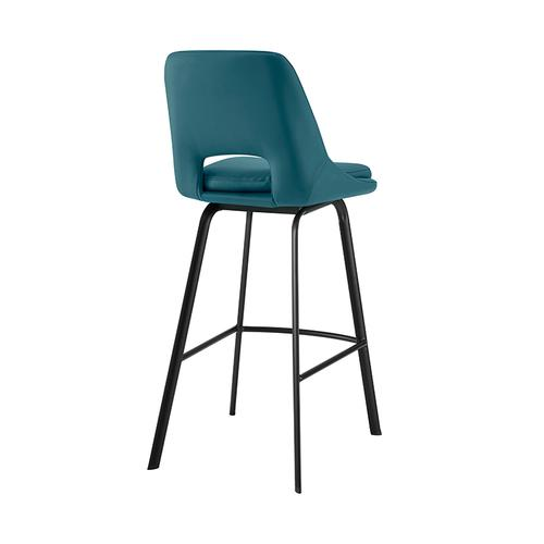 """Armen Living - Carise Blue Faux Leather and Black Metal Swivel 26"""" Counter Stool"""