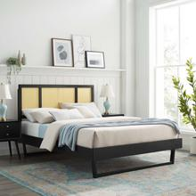 Kelsea Cane and Wood Full Platform Bed With Angular Legs in Black
