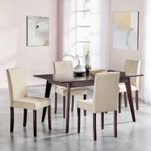 Prosper 5 Piece Upholstered Fabric Dining Set in Cappuccino Beige