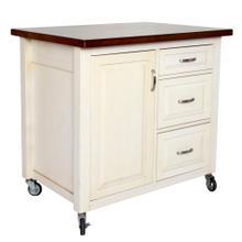 See Details - Kitchen Cart - Distressed White w/Chestnut Top