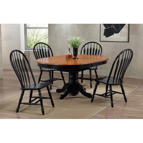 Pedestal Dining Table w/Butterfly Top - Antique Black Base with Cherry Finish