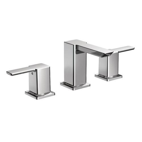 90 Degree chrome two-handle bathroom faucet