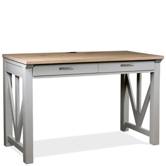 """Riverside - Osborne - 30"""" Nesting Desk - Timeless Oak/gray Skies Finish"""