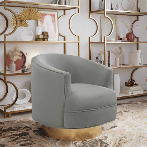 Stella Grey Velvet Swivel Chair by Inspire me! Home Decor