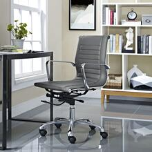 Runway Mid Back Upholstered Vinyl Office Chair in Gray