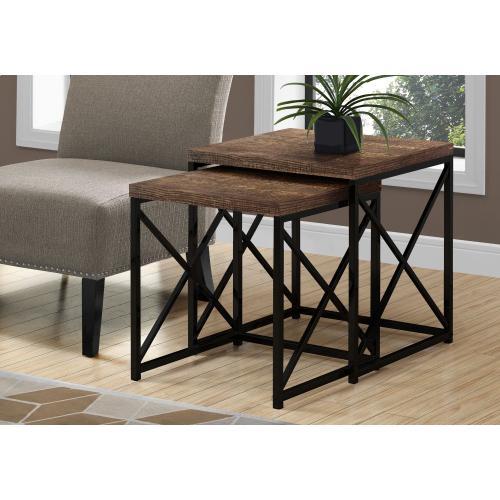 Gallery - NESTING TABLE - 2PCS SET / BROWN RECLAIMED WOOD / BLACK