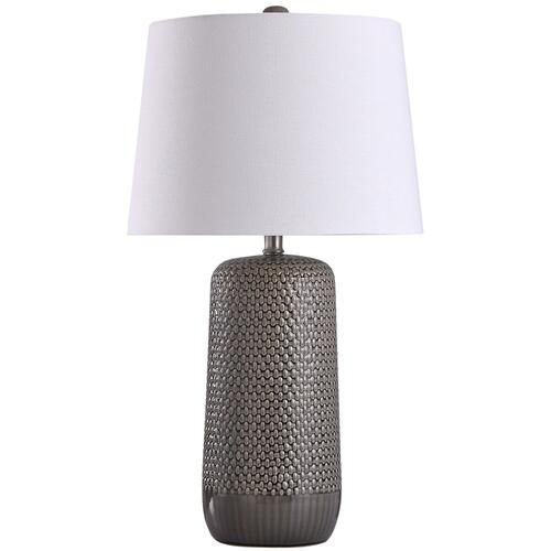 Patley Grey  30in Subtle Ceramic Body with Woven Wicker Textured Design Table Lamp  150 Watts  3-