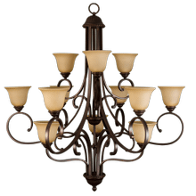 Alpine Series 12 Light Chandelier - Rb Tea Stained Glass