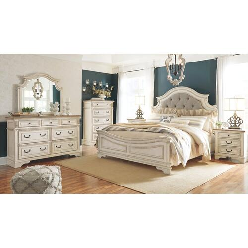 King Upholstered Panel Bed With Dresser