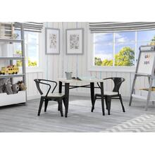 Wood + Metal Kids Table and Chair Set - Black with Driftwood (1312)