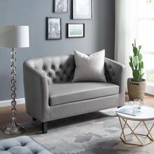See Details - Prospect Upholstered Vinyl Loveseat in Gray