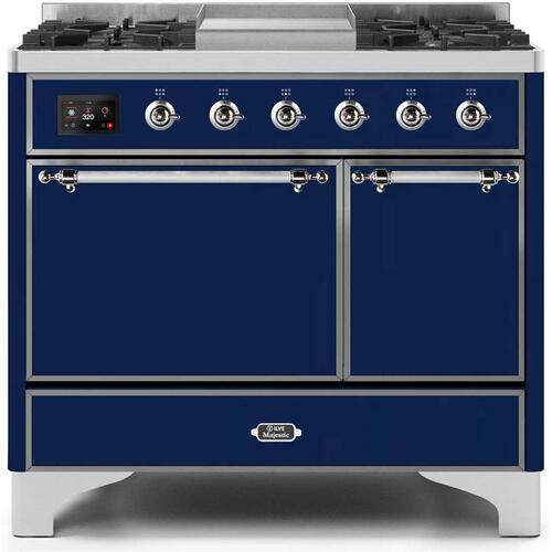Majestic II 40 Inch Dual Fuel Liquid Propane Freestanding Range in Blue with Chrome Trim