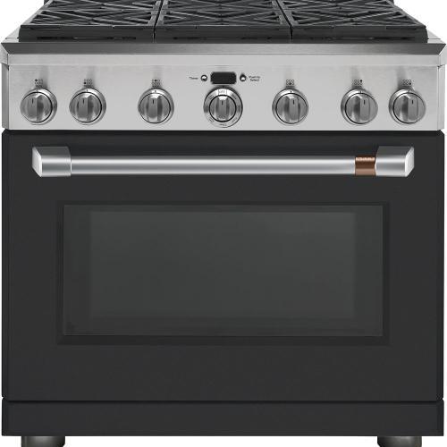 """Café ™ 36"""" Dual Fuel Professional Range with 6 Burners Matte Black"""
