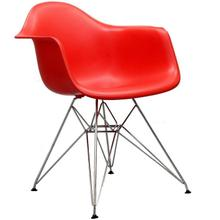 See Details - Modern Eiffel Style Arm Chair with Chromed Steel Legs - Reproduction - Set-of-2, Red