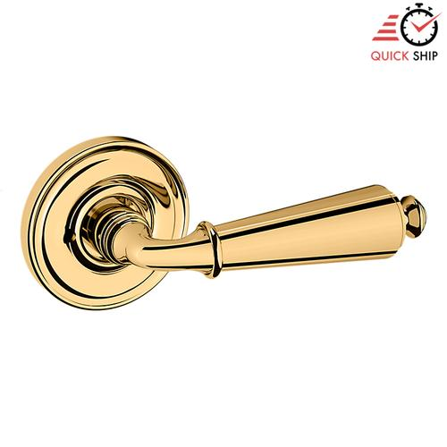 Baldwin - Non-Lacquered Brass 5125 Estate Lever with 5048 Rose