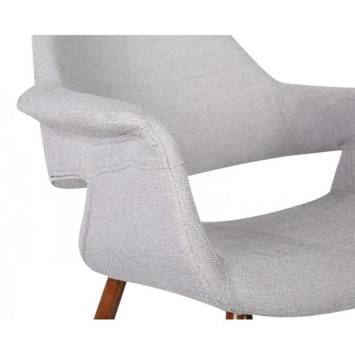 Armen Living Phoebe Mid-Century Dining Chair in Walnut Finish and Gray Fabric