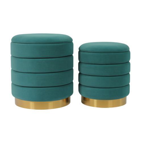 Tov Furniture - Saturn Teal Storage Ottomans - Set of 2