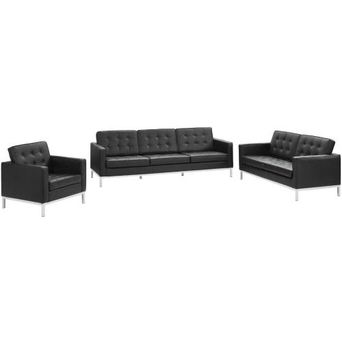 Loft 3 Piece Leather Sofa Loveseat and Armchair Set in Black