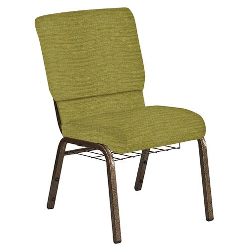 Flash Furniture - 18.5''W Church Chair in Highlands Stone Fabric with Book Rack - Gold Vein Frame