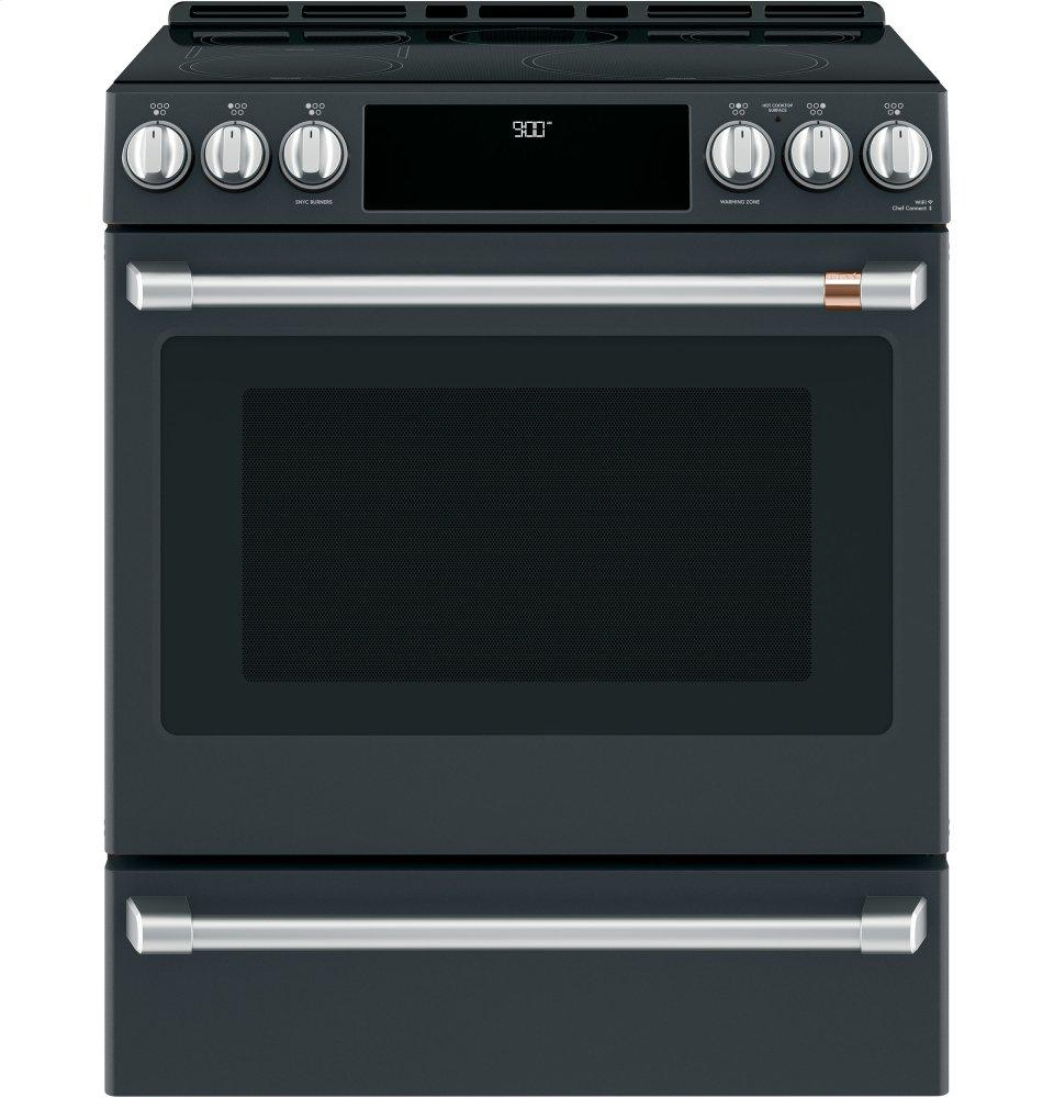 """Cafe Appliances30"""" Smart Slide-In, Front-Control, Induction And Convection Range With Warming Drawer"""