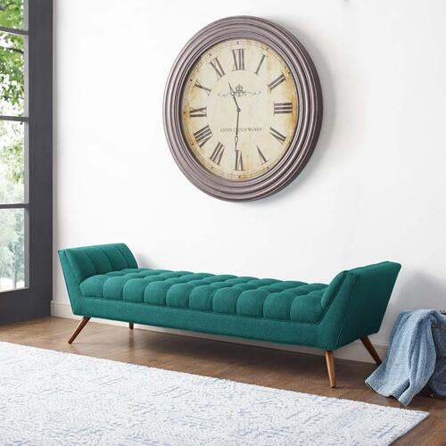 Response Upholstered Fabric Bench in Teal