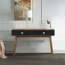 Amigo Black Veneer and Walnut Wood Console Table