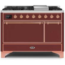 Majestic II 48 Inch Dual Fuel Liquid Propane Freestanding Range in Burgundy with Copper Trim