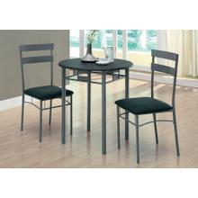 DINING SET - 3PCS SET / BLACK / SILVER METAL