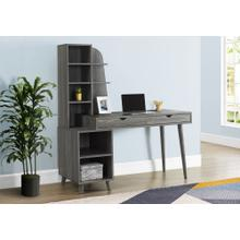 "COMPUTER DESK - 55""L / GREY WITH BOOKCASE"