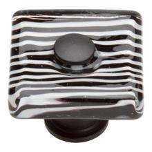 Zebra Glass Square Knob 1 1/2 Inch - Matte Black