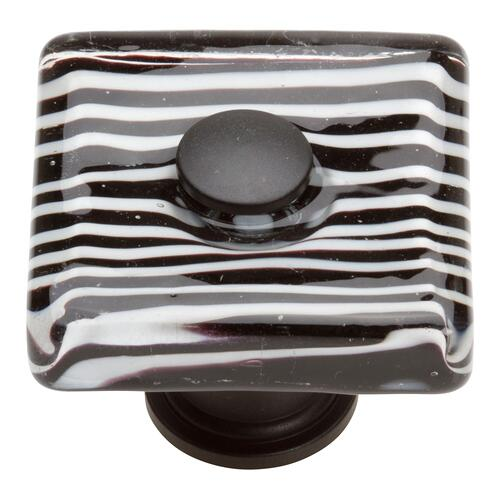 Atlas Homewares - Zebra Glass Square Knob 1 1/2 Inch - Matte Black