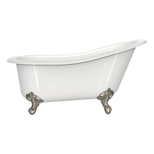 Product Image - Shropshire 60-1/2 Inch X 30 Inch Freestanding Slipper Bathtub in Volcanic Limestone™ with Overflow Hole - Gloss White