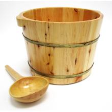 "AB6604 15"" Solid Cedar Wood Foot Soaking Barrel Bucket with Matching Spoon"