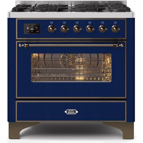 Majestic II 36 Inch Dual Fuel Natural Gas Freestanding Range in Blue with Bronze Trim