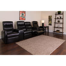 See Details - Anetos Series 4-Seat Reclining Black LeatherSoft Theater Seating Unit with Cup Holders